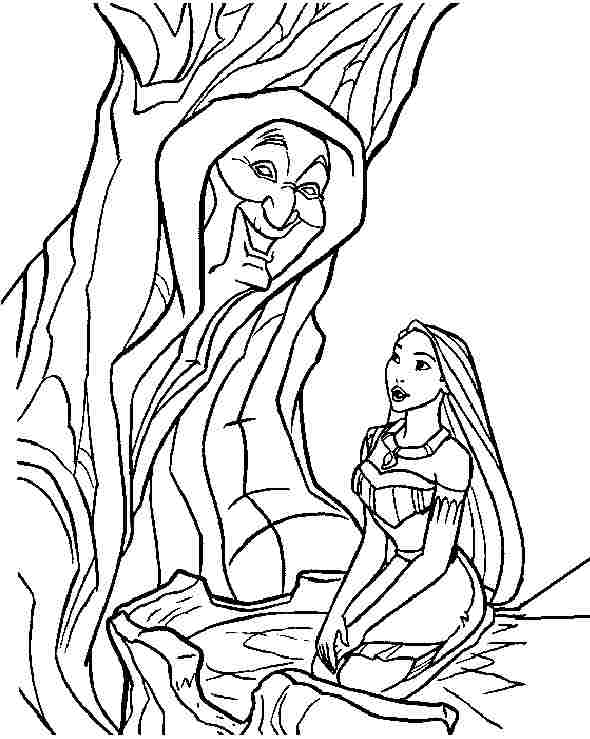 590x739 Pocahontas Coloring Pages With Grandmother Willow Tree