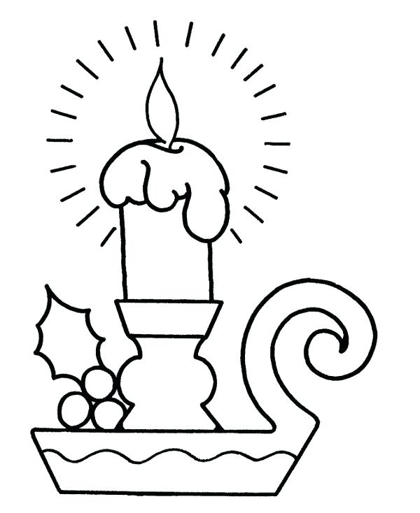 600x734 Christmas Candles Coloring Pages Candle Candle Blow
