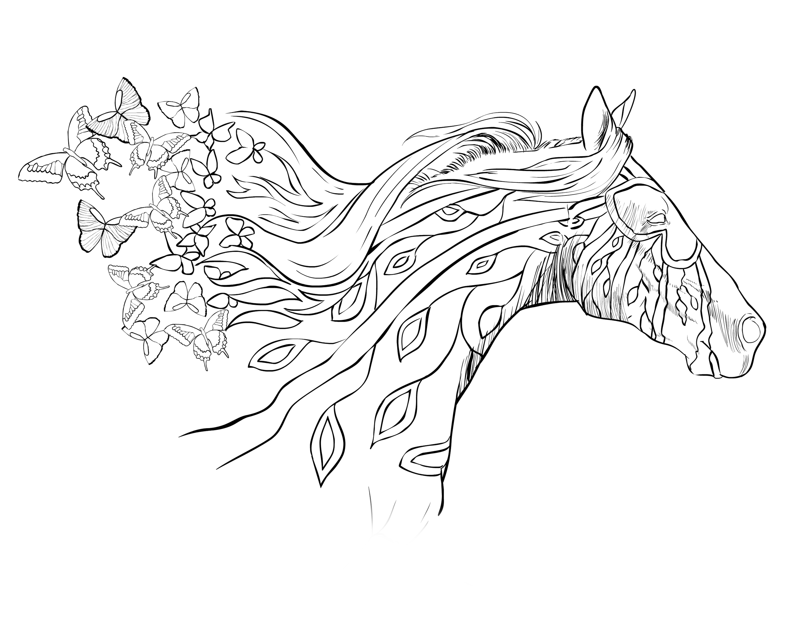 3300x2550 Horse Coloring Pages For Adults Running With The Wind