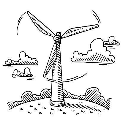 414x414 Rotating Wind Turbine Drawing Doodles