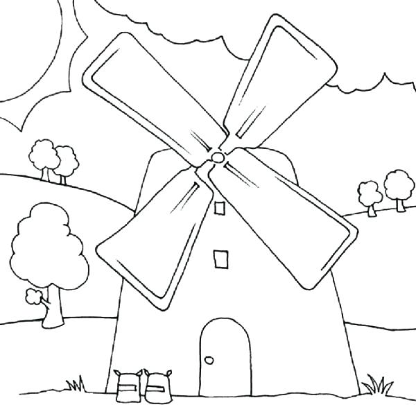 600x600 Windmill Coloring Page Energy Coloring Pages Coloring Page Wind