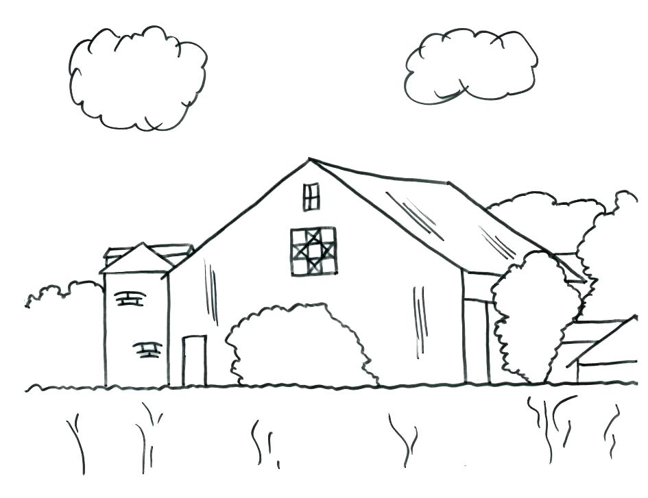945x727 Barn Coloring Page Barn With Hay In The Loft A Silo And Windmills