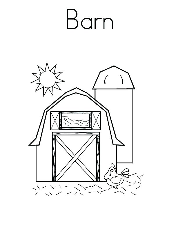 600x776 Barn Coloring Pages Tractor Tractor Farm And Barn Coloring Page