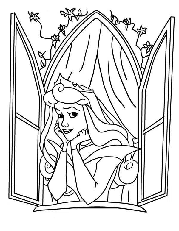 600x776 Disney Princess Aurora Open Her Window In Sleeping Beauty Coloring