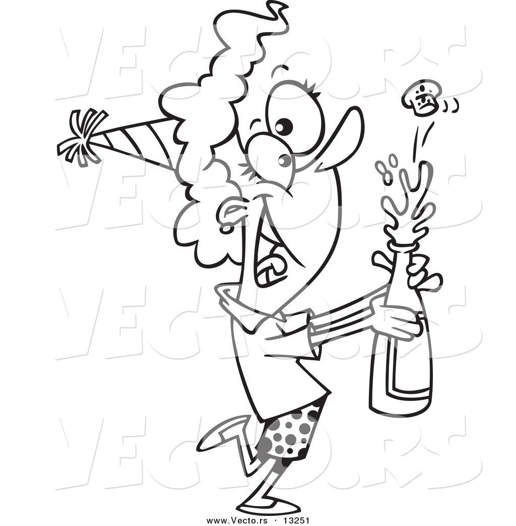 1024x1044 Vector A Cartoon New Year Woman Popping Open A Bottle
