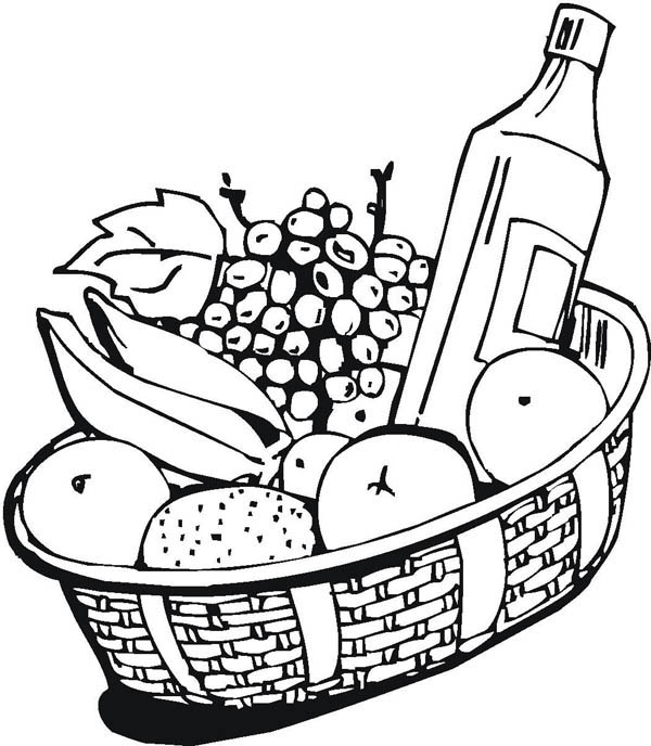 600x688 Fruit And Red Wine Coloring Page