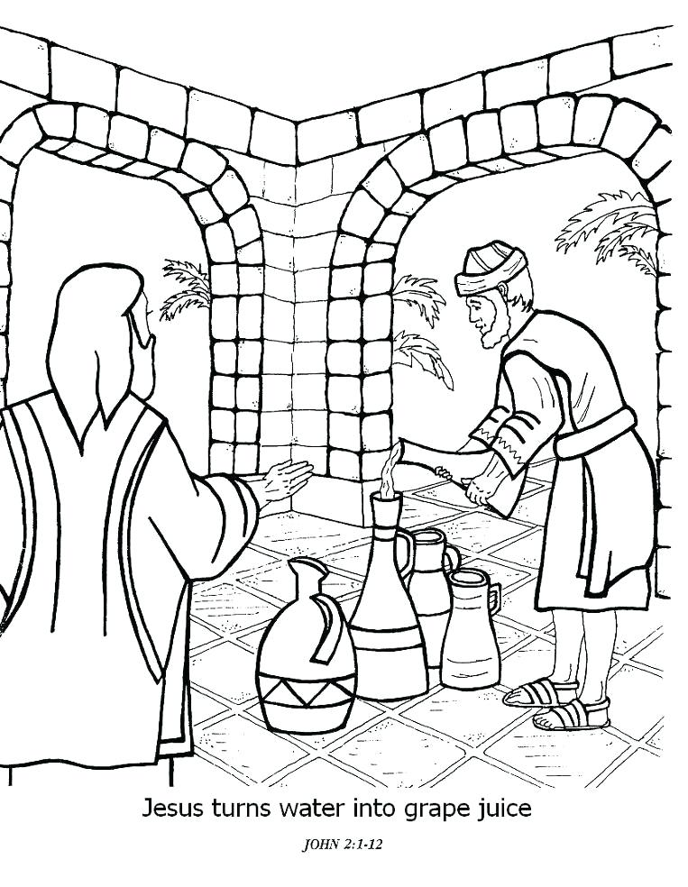 763x984 Jesus Turns Water Into Wine Coloring Page Coloring Pages For Kids