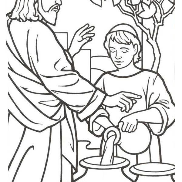 600x600 Jesus Turns Water Into Wine Coloring Page Extraordinary Jesus