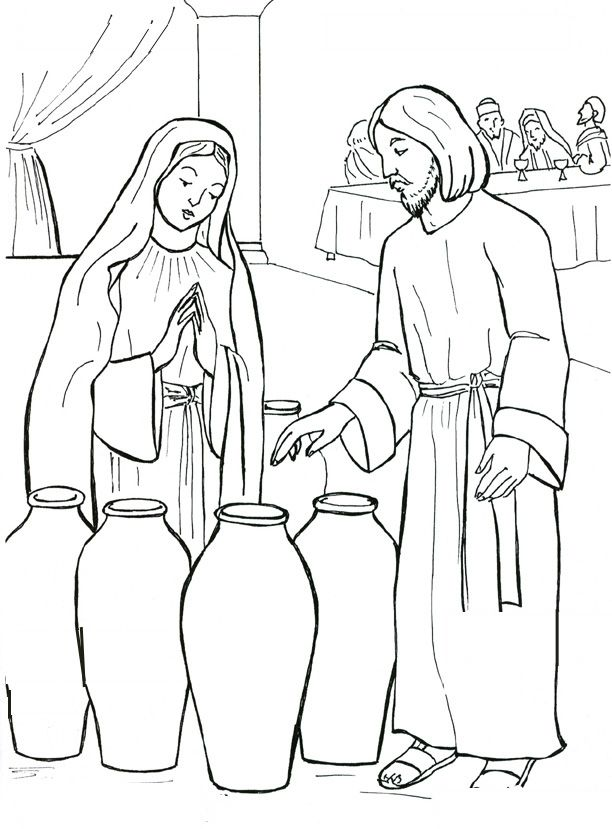 612x829 Nobby Jesus Turns Water Into Wine Coloring Page The Start
