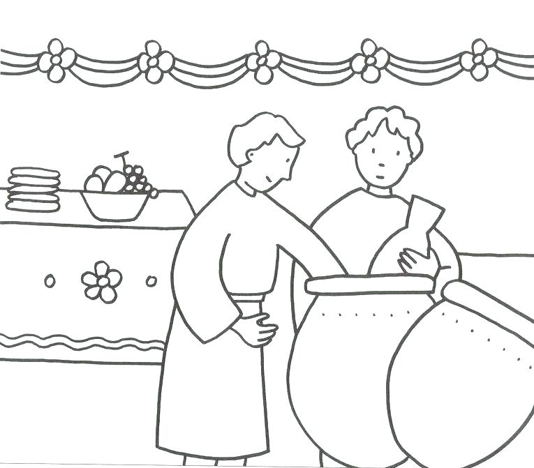 765x671 Jesus Turns Water Into Wine Coloring Page