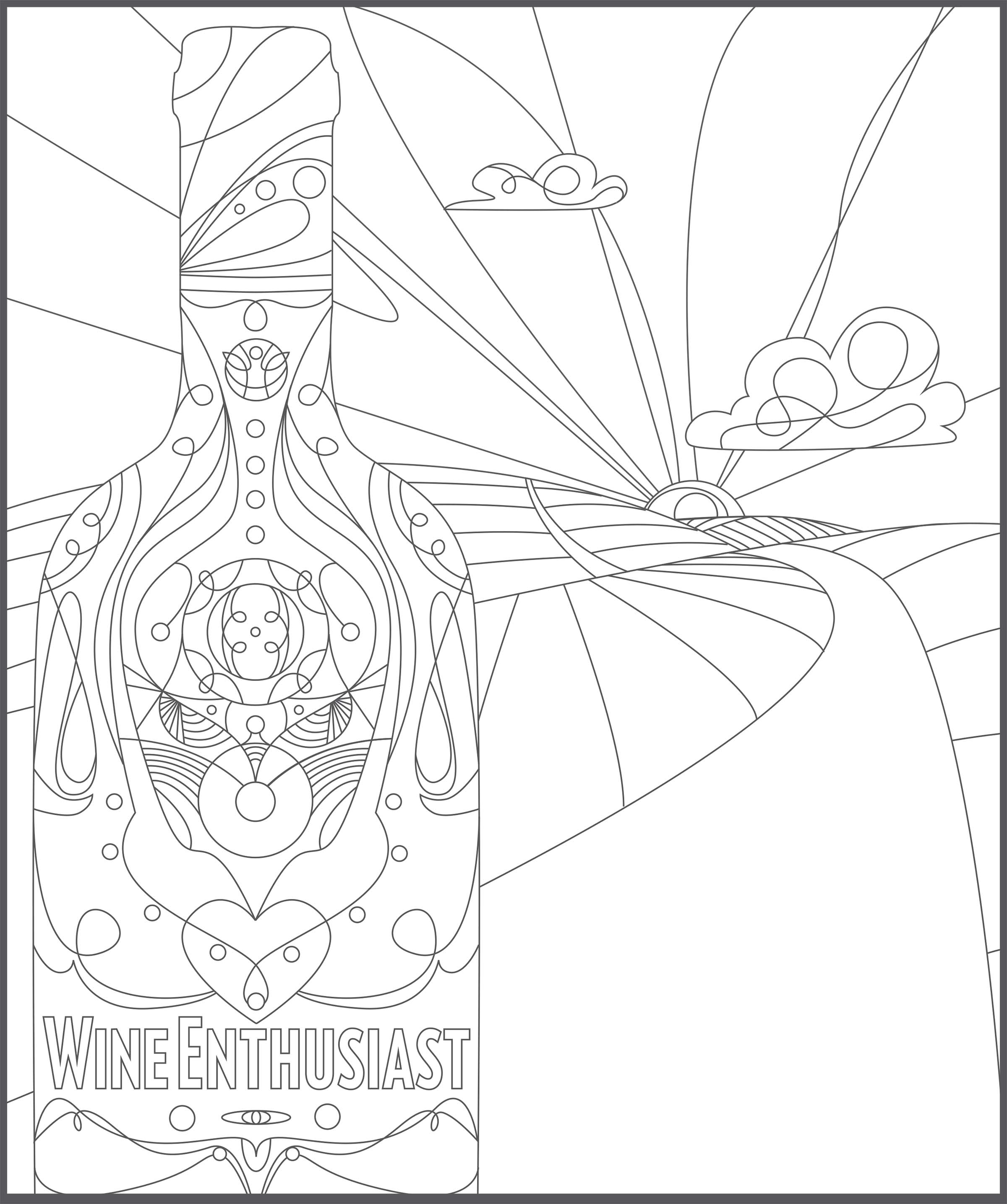 2400x2870 Adult Coloring Book, Color Inside The Wines Wine Enthusiast
