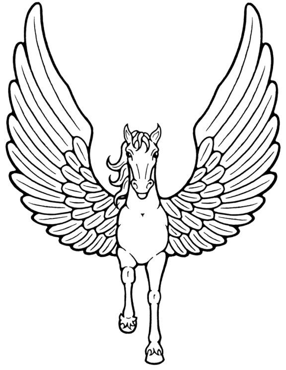 576x747 Unicorn With Wings Flying Coloring Pages Coloring Pages