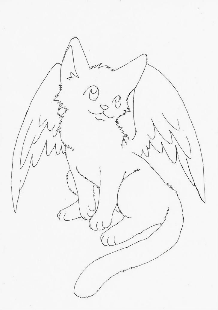 728x1034 Winged Cat Coloring Pages Coloring Pages For Adults
