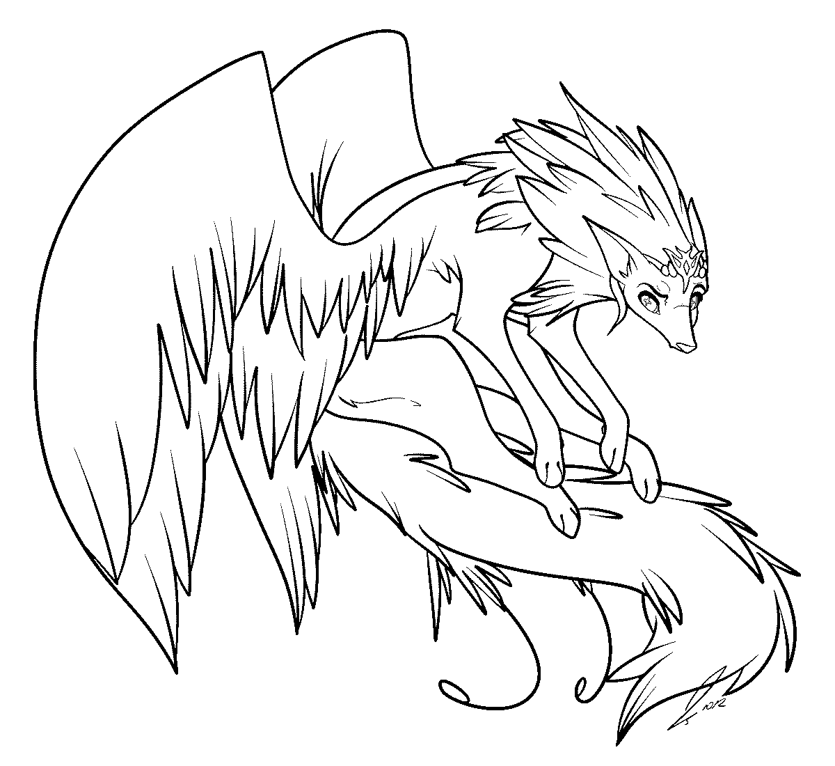 1200x1100 Anime Winged Cat Coloring Page