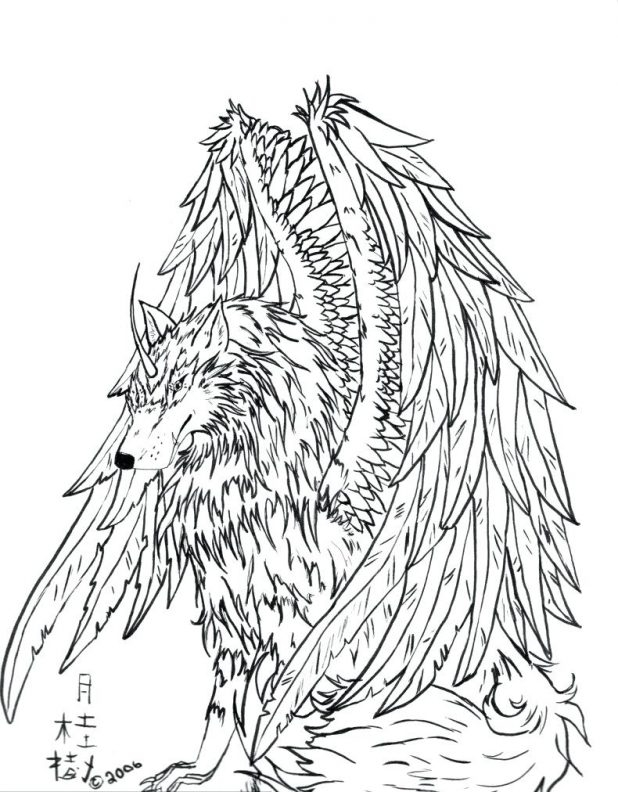 618x792 Winged Wolf Coloring Pages