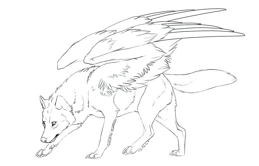 900x576 Winged Wolf Coloring Pages Free Winged Wolf