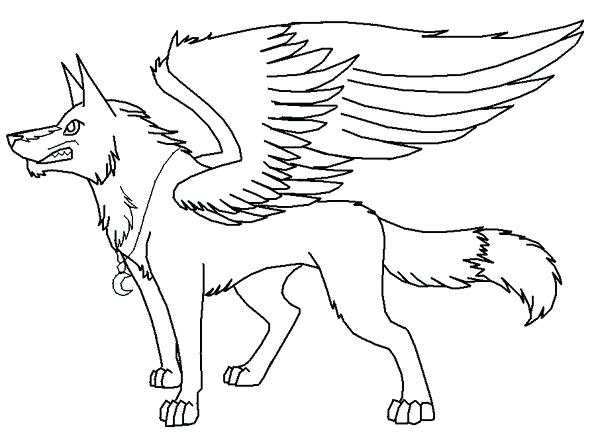 600x445 Winged Wolf Coloring Pages Line Art Winged Wolf