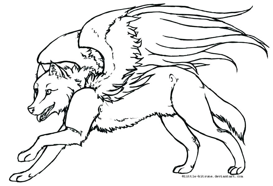 878x600 Winged Wolf Coloring Pages Wolf Pup Coloring Pages Winged Wolf
