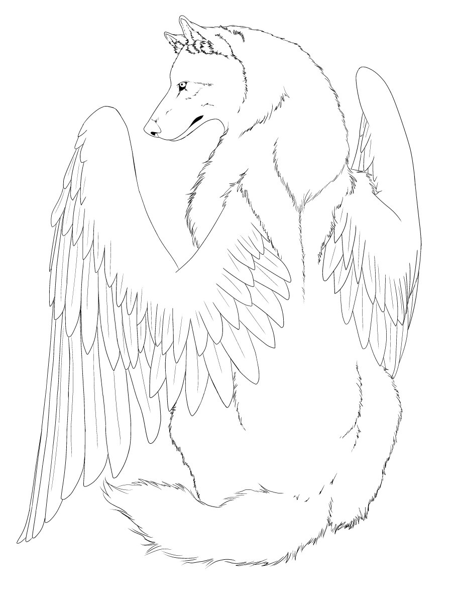 900x1200 Winged Wolf Line Art Edited