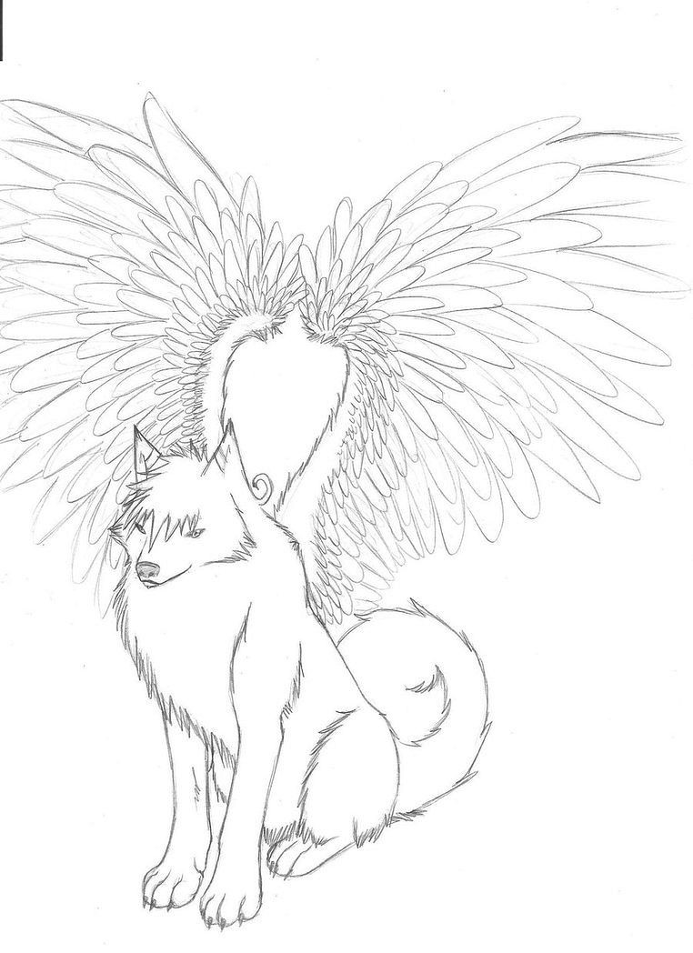 762x1048 Wolf With Wings Coloring Pages