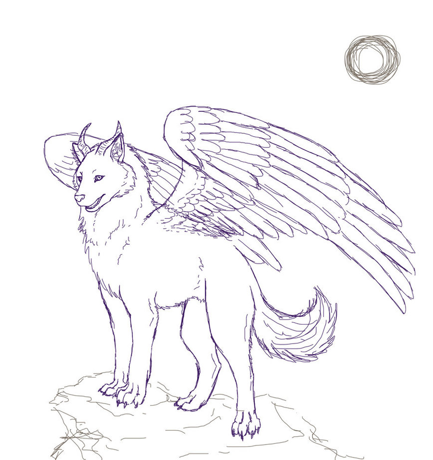 868x921 Winged Wolf Sketch