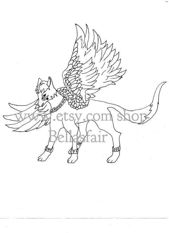 570x784 Hand Drawn Mythical Winged Wolf, Coloring, Coloring Page, Fantisy