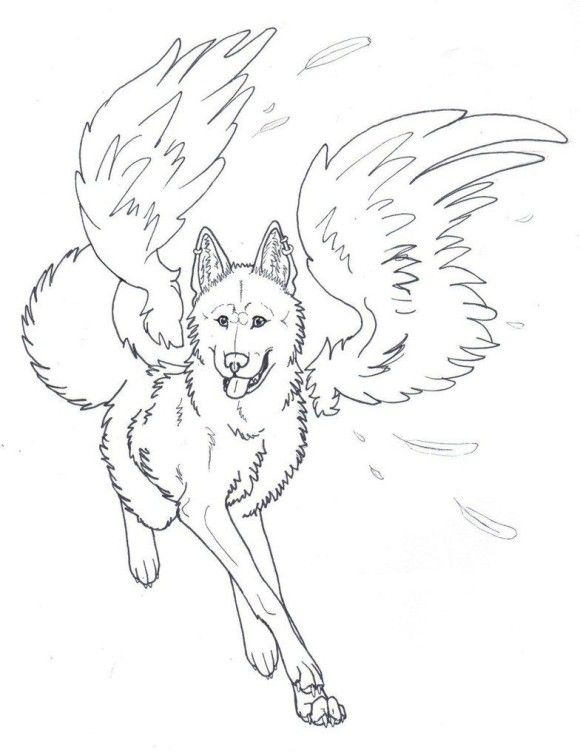 580x753 Drawn Howling Wolf Wing Coloring Page