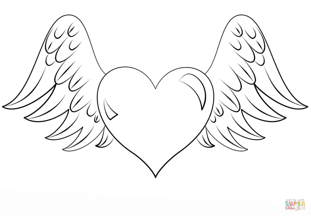 1024x711 Hearts With Wings Coloring Pages