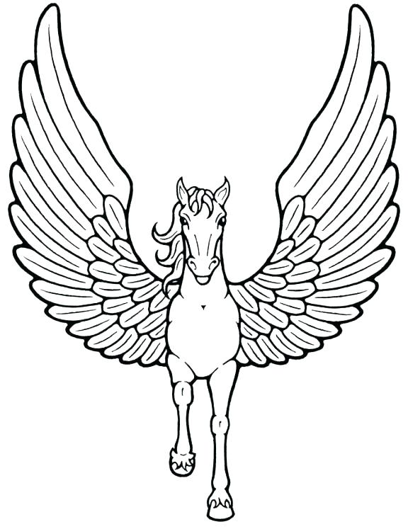 576x747 Unicorn Color Pages Unicorn With Wings Coloring Pages Pictures