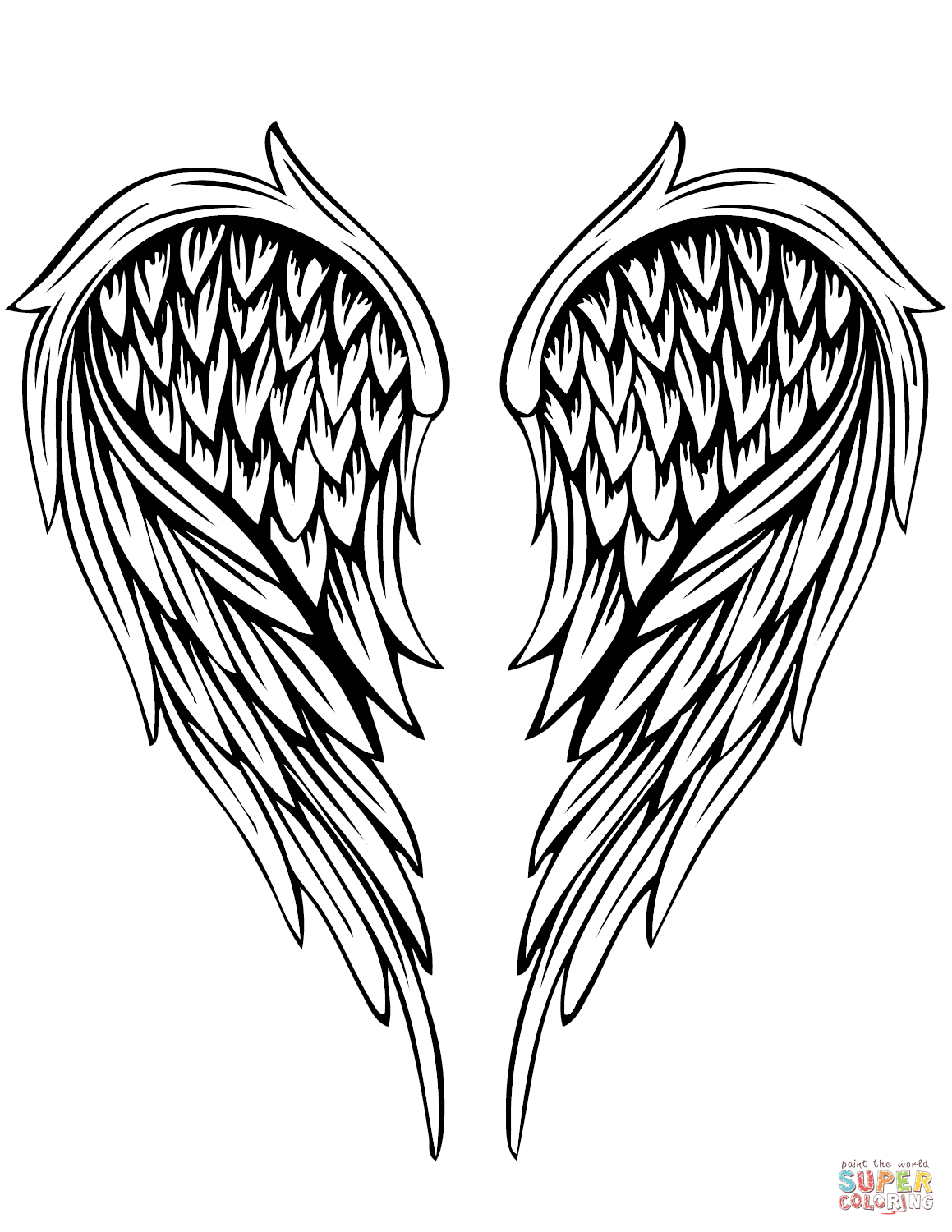 1159x1500 Angel Wings Tattoo Coloring Page Free Printable Coloring Pages
