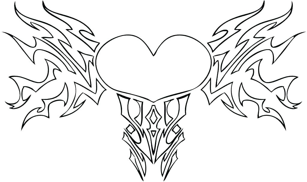 1024x607 Coloring Angel Wings Coloring Pages Hearts With Heart Color