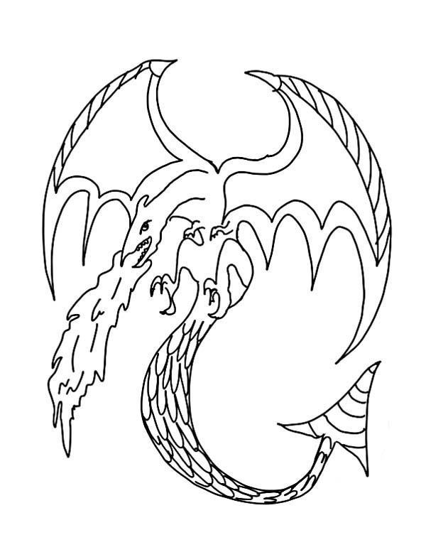 600x784 Fire Breathing Dragon Coloring Pages