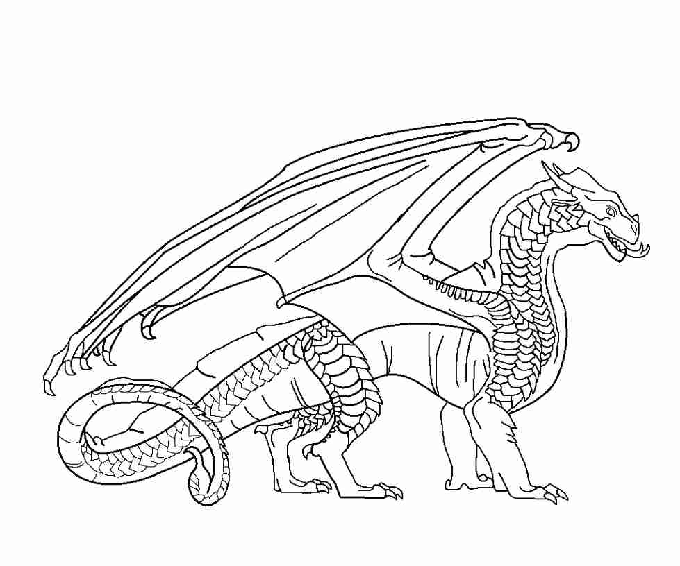 979x816 Wings Of Fire Coloring Pages With Seawings Dragon From Stunning