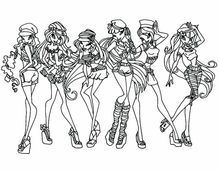 909x707 Winx Coloring Pages For Girls Coloring Pages Winx Club Coloring