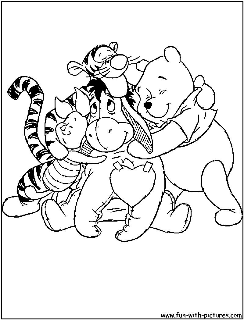 800x1050 Winnie Friends Valentine Coloring Page