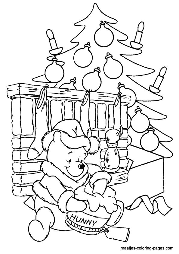 595x842 The Pooh Christmas Coloring Pages