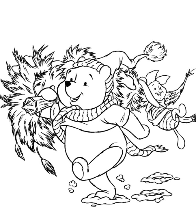 679x772 Disney Christmas Winnie The Pooh And Piglet Coloring Pages Pics