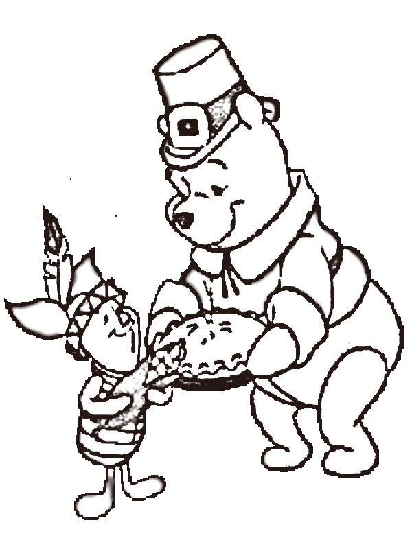 600x800 Pooh Bear Thanksgiving Coloring Pages