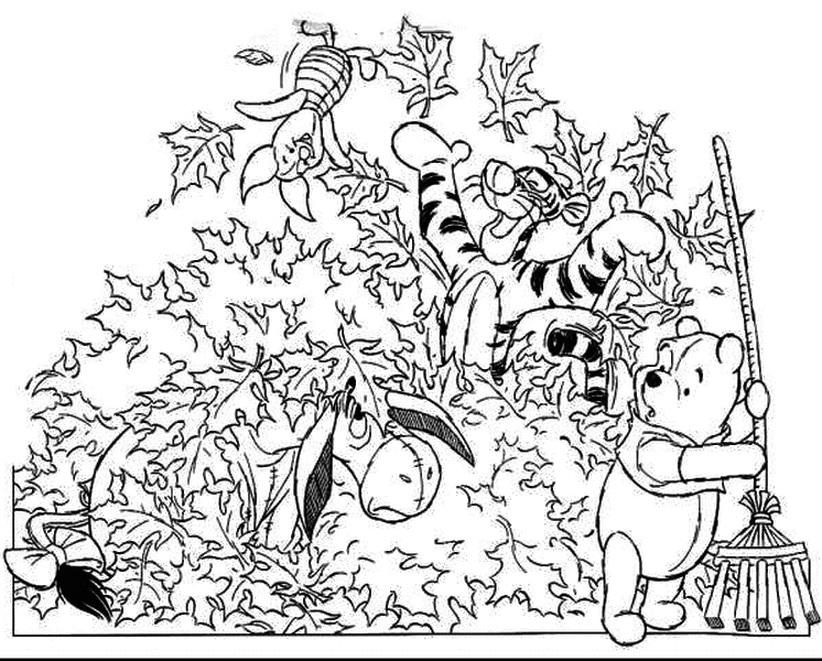 746x600 Winnie Pooh Fall Coloring Pages