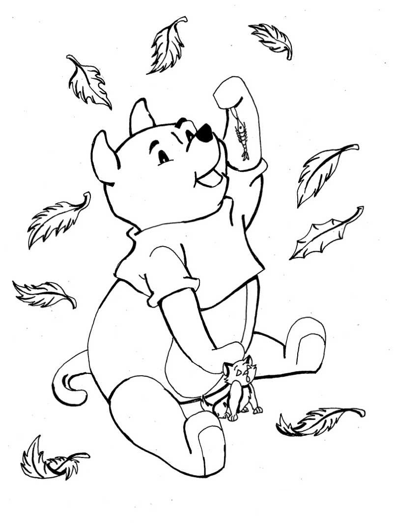 806x1062 Winnie The Pooh Autumn Leaves Fall Coloring Pages Free Coloring