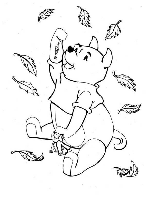 600x819 Disney Winnie The Pooh Catching In Autumn Leaves Coloring Page