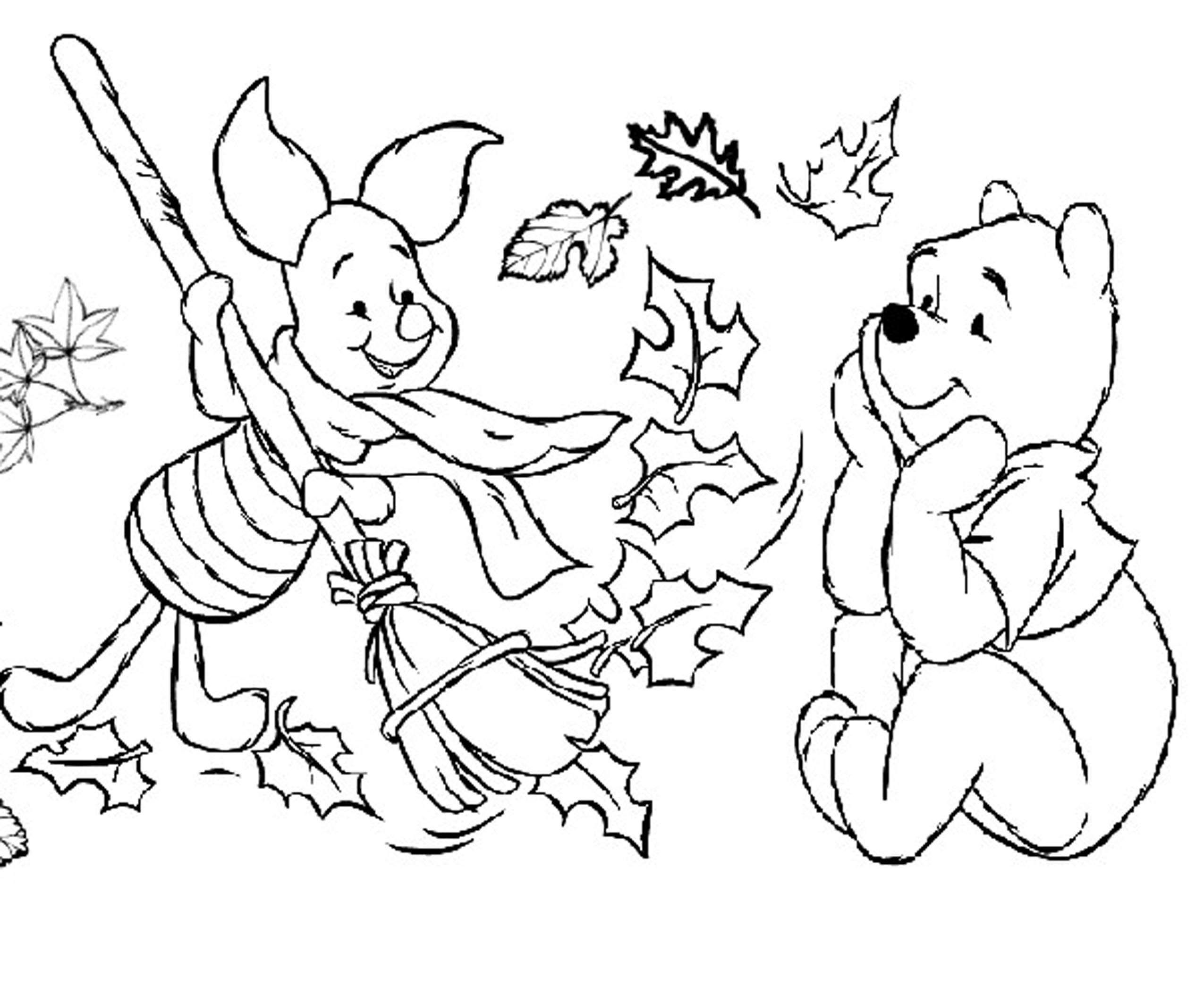 2550x2125 Fall Coloring Pages Winnie The Pooh And Piglet Autumn