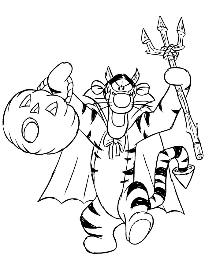 Winnie The Pooh Halloween Coloring Pages