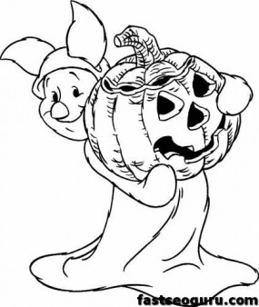 285x338 Winnie The Pooh Piglet Printable Halloween Coloring Pages Disney