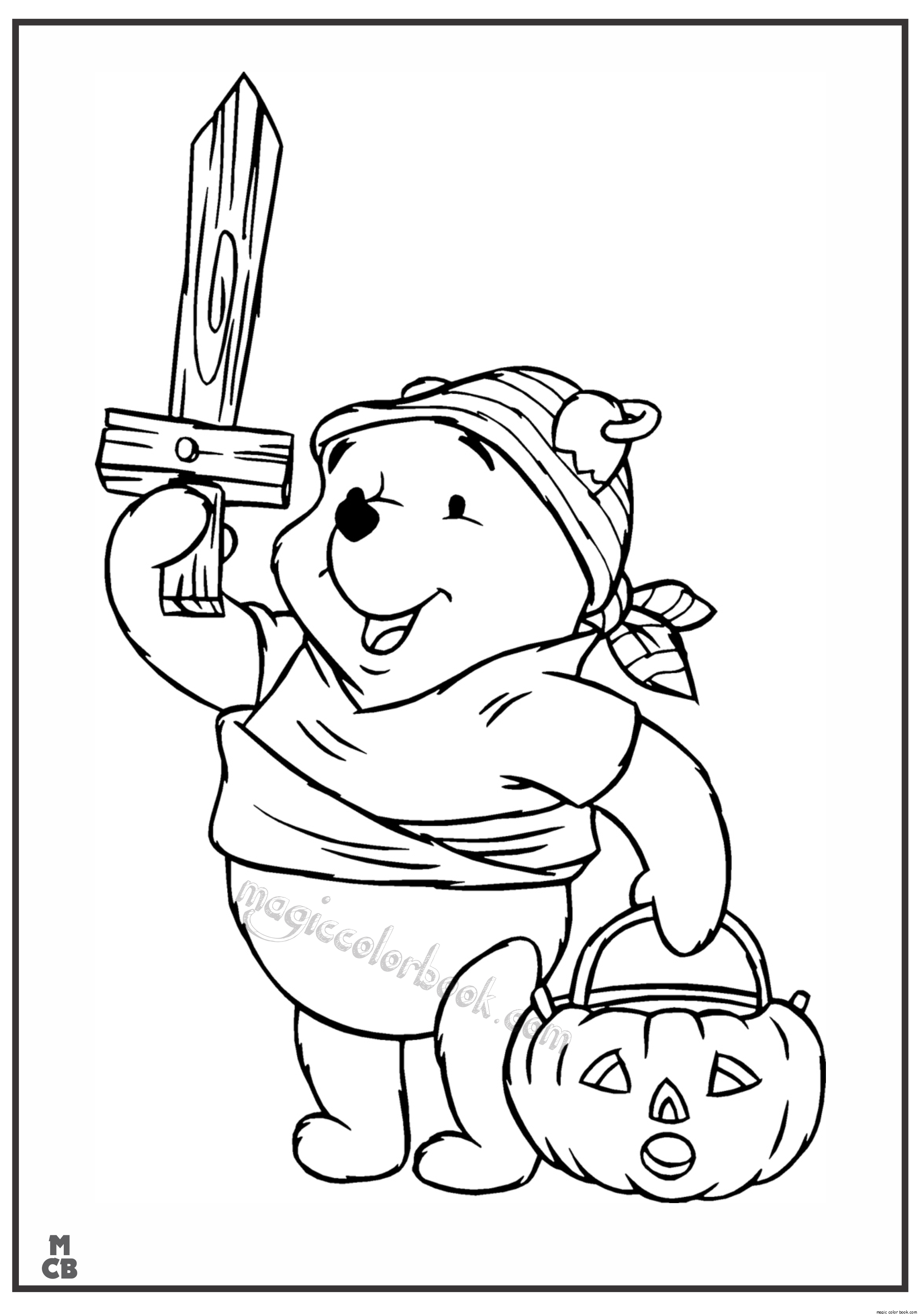 2449x3484 Winnie The Pooh Halloween Coloring Pages