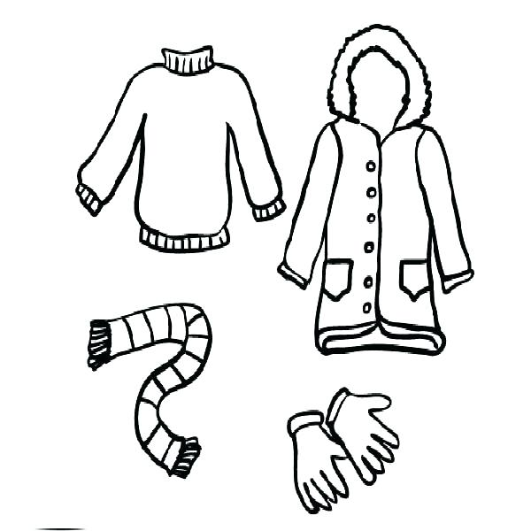 600x600 Preschool Winter Clothes Coloring Sheets Pages Printable Clothing