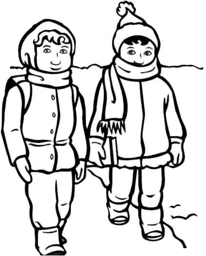697x866 Print Boy And Girl With Winter Clothes Coloring Page Or Download