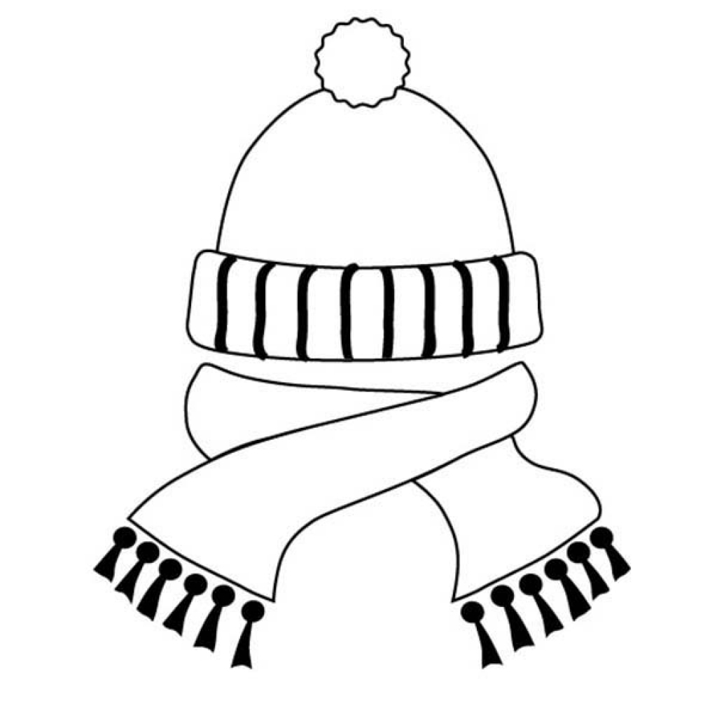 1024x1024 Scarf And Winter Hat Coloring Page Clothing With Template