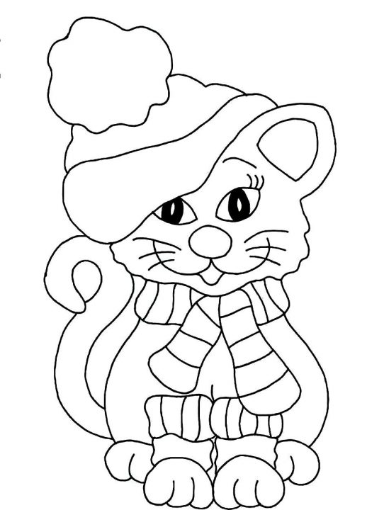 518x720 A Cat Looks Beautiful With Winter Coat Hat And Scarf Coloring