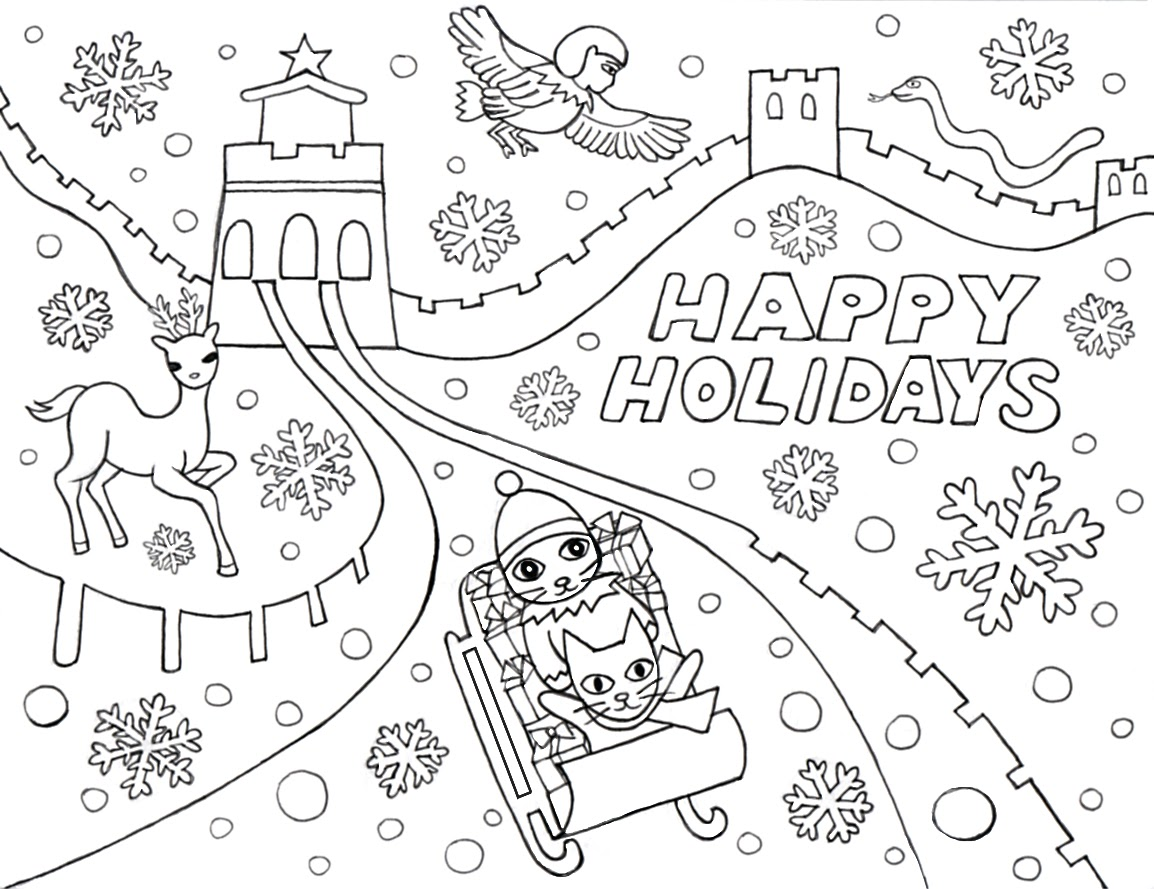 1154x889 Printable Winter Holiday Coloring Pages Color Bros Page